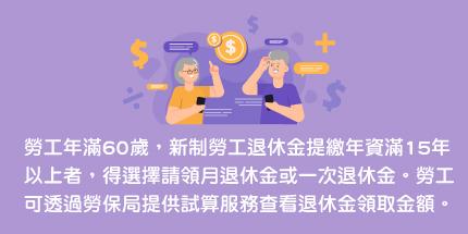 勞工年滿60歲,新制勞工退休金提繳年資滿15年以上者,得選擇請領月退休金或一次退休金。勞工可透過勞保局提供試算服務查看退休金領取金額。